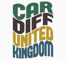 Cardiff United Kingdom Retro Wave Kids Clothes