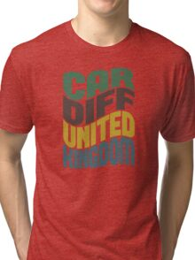 Cardiff United Kingdom Retro Wave Tri-blend T-Shirt