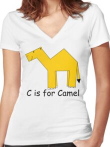 C is for Camel Women's Fitted V-Neck T-Shirt