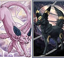 Espeon and Umbreon - Art Noveau  by Speras