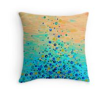WHAT GOES UP Cheerful Water Bubbles Abstract Aquatic Pattern Cute Turquoise Blue Circles Acrylic Painting Throw Pillow