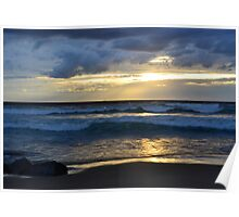 beach sunset with golden sky Poster