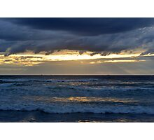 Golden sky over the sea Photographic Print