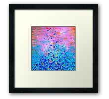 WHAT GOES UP, REVISITED Bold Royal Blue Pink Bubbles Whimsical Underwater Ocean Abstract Painting Framed Print