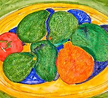 Neon Avocados, Tomato and Mineola Still Life by Christine Chase Cooper