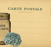 Save the Date - Mason Jar, Blue Hortensia Flower by sitnica