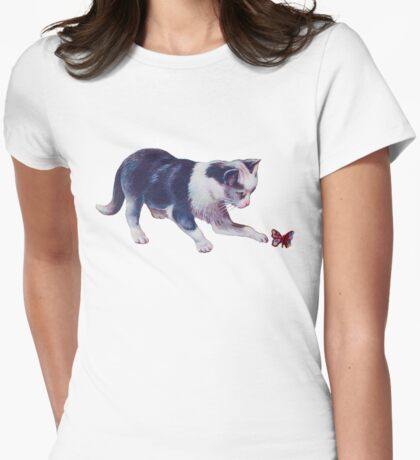 Cat Playing With A Butterfly Womens Fitted T-Shirt