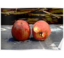 Still life with two Apples Poster
