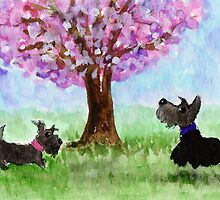 Scottie Dogs 'Cherry Blossom Tree' by archyscottie