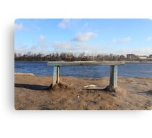 An empty Bench by the river Metal Print