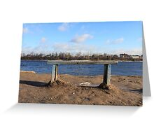 An empty Bench by the river Greeting Card