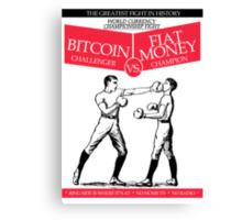 Bitcoin vs Money Boxing Fight Retro Design Canvas Print
