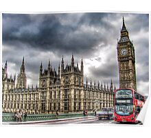 London - Big Ben and Bus Poster