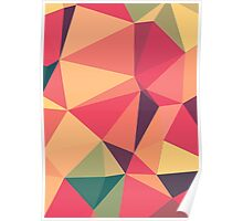 Fruit salad, abstract triangle mosaic design Poster