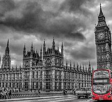 Houses of Parliament and Red Bus by Scott Anderson