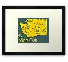 Washington State Map Framed Print