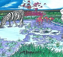 African Waterhole 2 panel by TadHuck