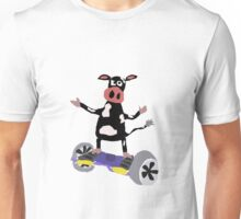 Cool Funny Black and White Cow on Hoverboard Unisex T-Shirt