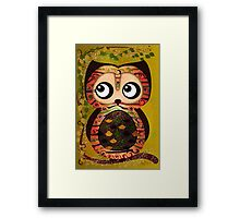 Owl On A Branch Symbolism Framed Print