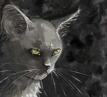 White Cat in Greys by Carole Chapla