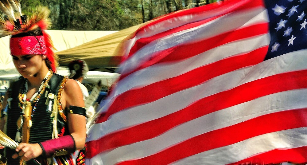American Flag, Powwow, Hardeville, South Carolina by fauselr