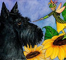 Sinclair Scottie and the sunflower fairy by thewhippetywood