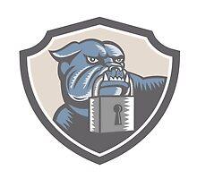 Bulldog Dog Mongrel Padlock Shield by patrimonio