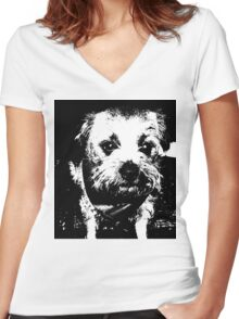 Cowboy dog Women's Fitted V-Neck T-Shirt