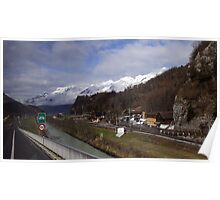 On the road in Switzerland Poster