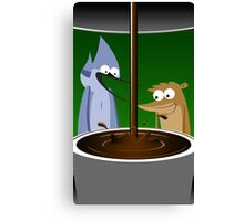 Mordecai, Rigby, and Coffee Canvas Print