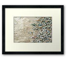 Broken coral on a beach Framed Print