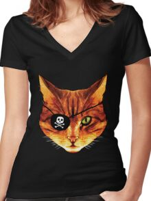 Captain Kitty Women's Fitted V-Neck T-Shirt