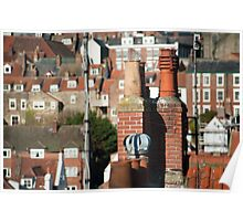 Rooftop view of chimney pots Poster
