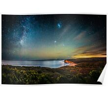 Night Sky Over Bells Beach, Torquay. Poster