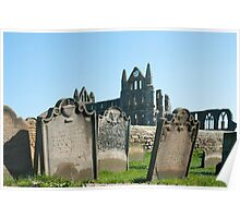 Gravestones at Whitby abbey Poster