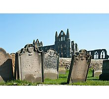 Gravestones at Whitby abbey Photographic Print