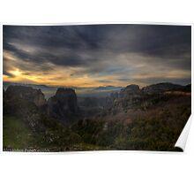 Meteora sunset Poster