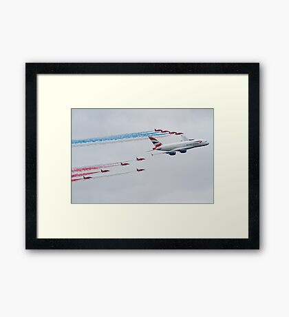 Red Arrows and British Airways A380 Framed Print