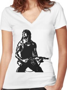 Rambo; First Blood Stencil Women's Fitted V-Neck T-Shirt