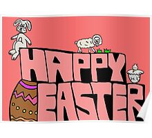 Happy Easter with animals Poster