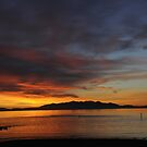 Sunset on Irvine Beach with Arran by George Crawford