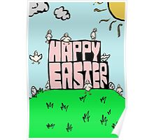 Happy Easter with chicks Poster