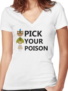 Pick Your Poison (Black Text) Women's Fitted V-Neck T-Shirt