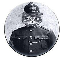 Police Cat Round Photographic Print