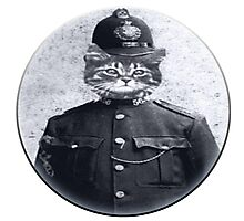 Police Cat Round Photographic Print