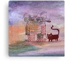 evil sorcerer with his cat Canvas Print