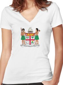 Fiji Coat of Arms  Women's Fitted V-Neck T-Shirt