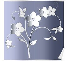 Silver flowers Poster