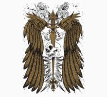 "Skull Winged ""Dagger Pierced Cranium"" Flora Ornate by artkrannie"