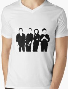 One Direction Silhouette Black and White Mens V-Neck T-Shirt